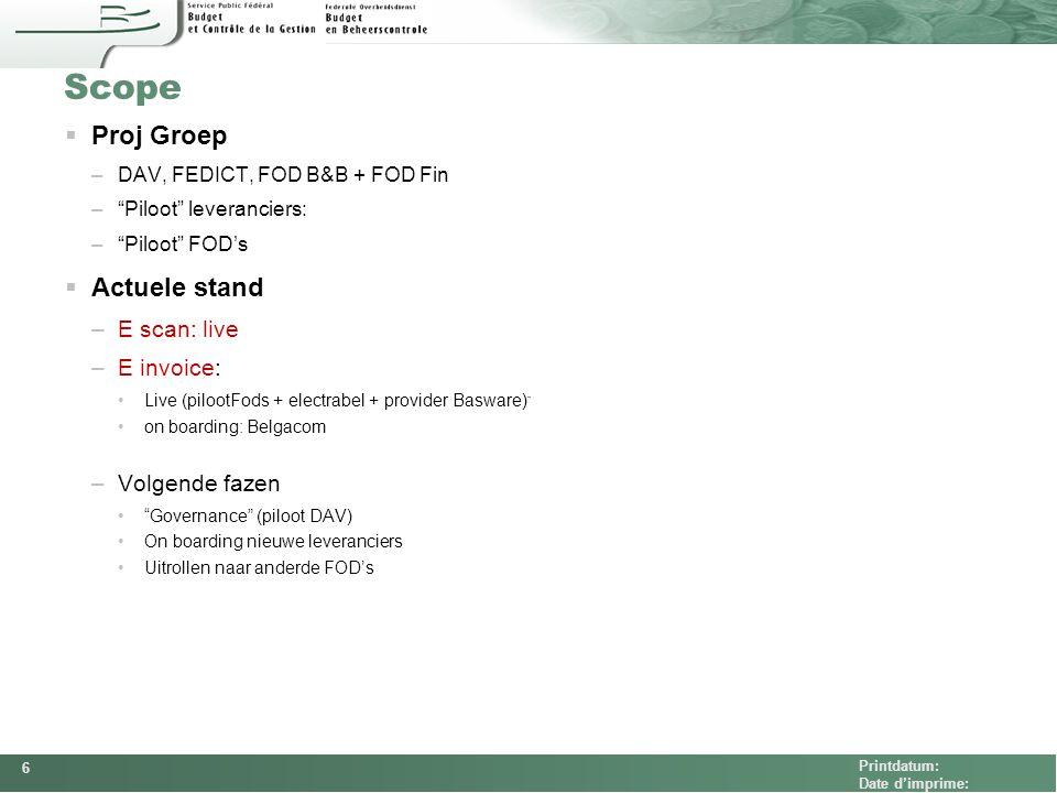 "FEDCOM Printdatum: Date d'imprime: Scope  Proj Groep –DAV, FEDICT, FOD B&B + FOD Fin –""Piloot"" leveranciers: –""Piloot"" FOD's  Actuele stand –E scan:"