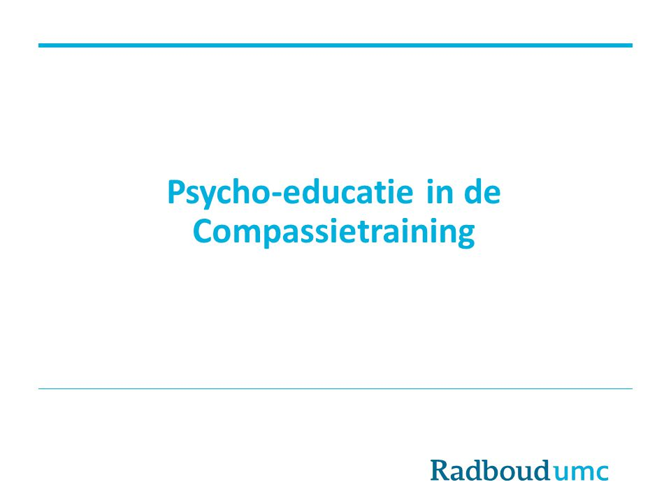 Psycho-educatie in de Compassietraining