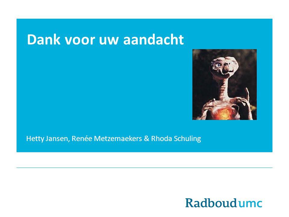 Dank voor uw aandacht Hetty Jansen, Renée Metzemaekers & Rhoda Schuling