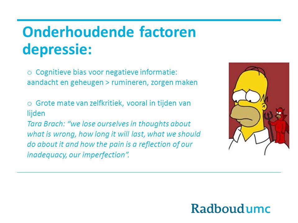 Onderhoudende factoren depressie: o Cognitieve bias voor negatieve informatie: aandacht en geheugen > rumineren, zorgen maken o Grote mate van zelfkri