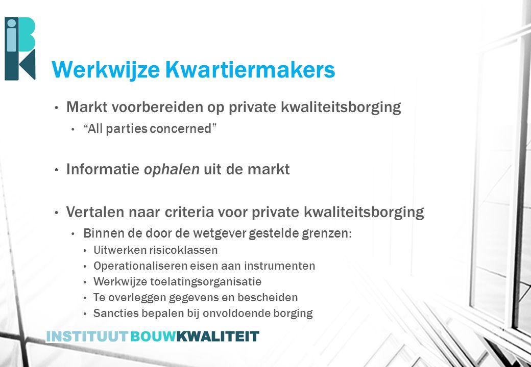 """Werkwijze Kwartiermakers Markt voorbereiden op private kwaliteitsborging """"All parties concerned"""" Informatie ophalen uit de markt Vertalen naar criteri"""