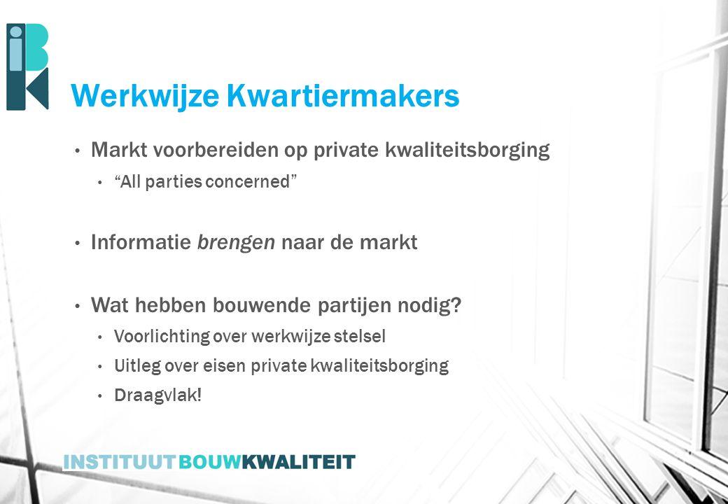 """Werkwijze Kwartiermakers Markt voorbereiden op private kwaliteitsborging """"All parties concerned"""" Informatie brengen naar de markt Wat hebben bouwende"""