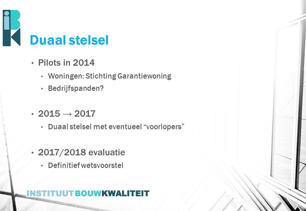 """Duaal stelsel Pilots in 2014 Woningen: Stichting Garantiewoning Bedrijfspanden? 2015 → 2017 Duaal stelsel met eventueel """"voorlopers"""" 2017/2018 evaluat"""