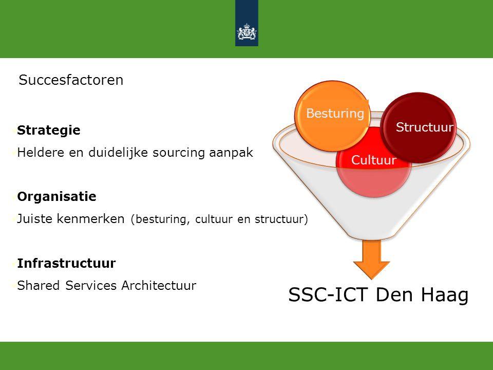 Succesfactoren Strategie Heldere en duidelijke sourcing aanpak Organisatie Juiste kenmerken (besturing, cultuur en structuur) Infrastructuur Shared Se