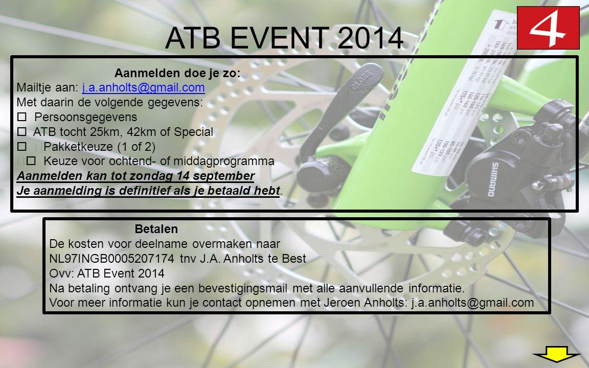 ATB EVENT 2014 •Aanmelden doe je zo: Mailtje aan: j.a.anholts@gmail.comj.a.anholts@gmail.com Met daarin de volgende gegevens:  Persoonsgegevens  ATB