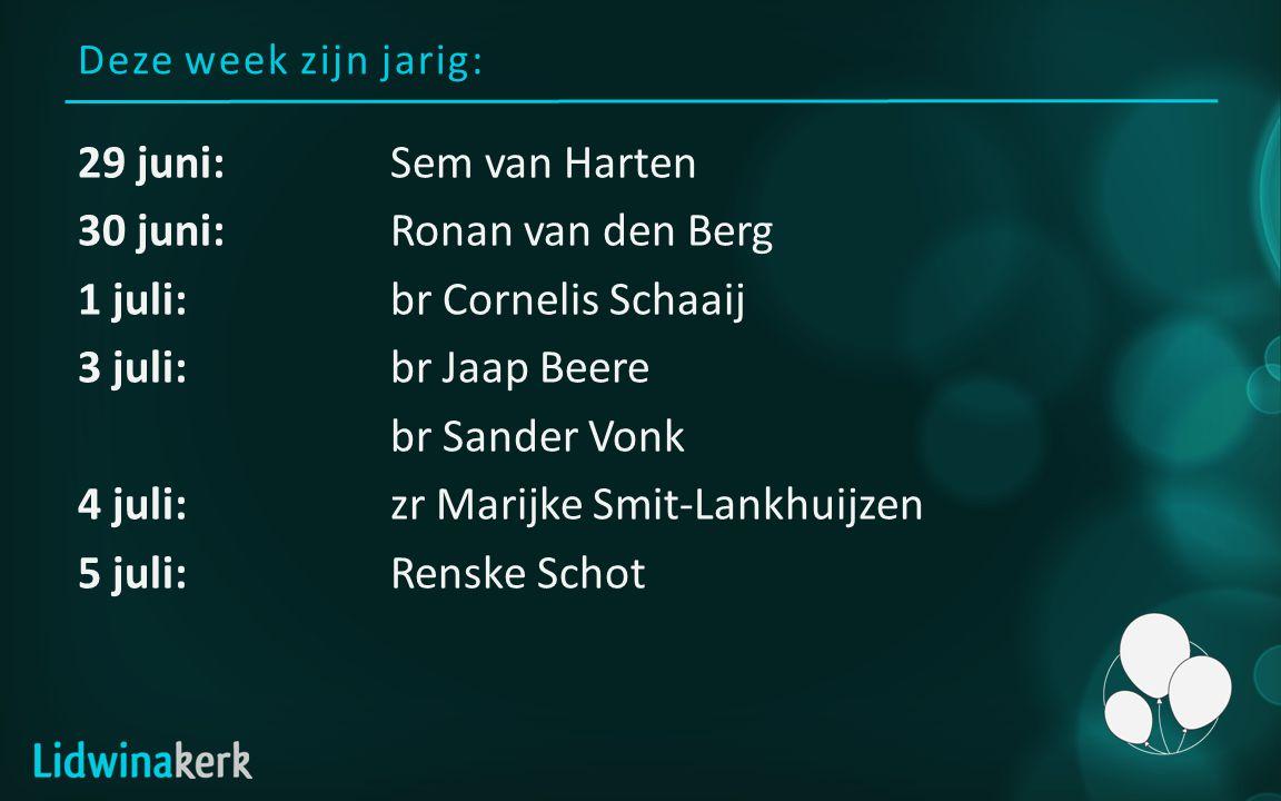 Deze week zijn jarig: 29 juni:Sem van Harten 30 juni:Ronan van den Berg 1 juli:br Cornelis Schaaij 3 juli:br Jaap Beere br Sander Vonk 4 juli:zr Marijke Smit-Lankhuijzen 5 juli:Renske Schot