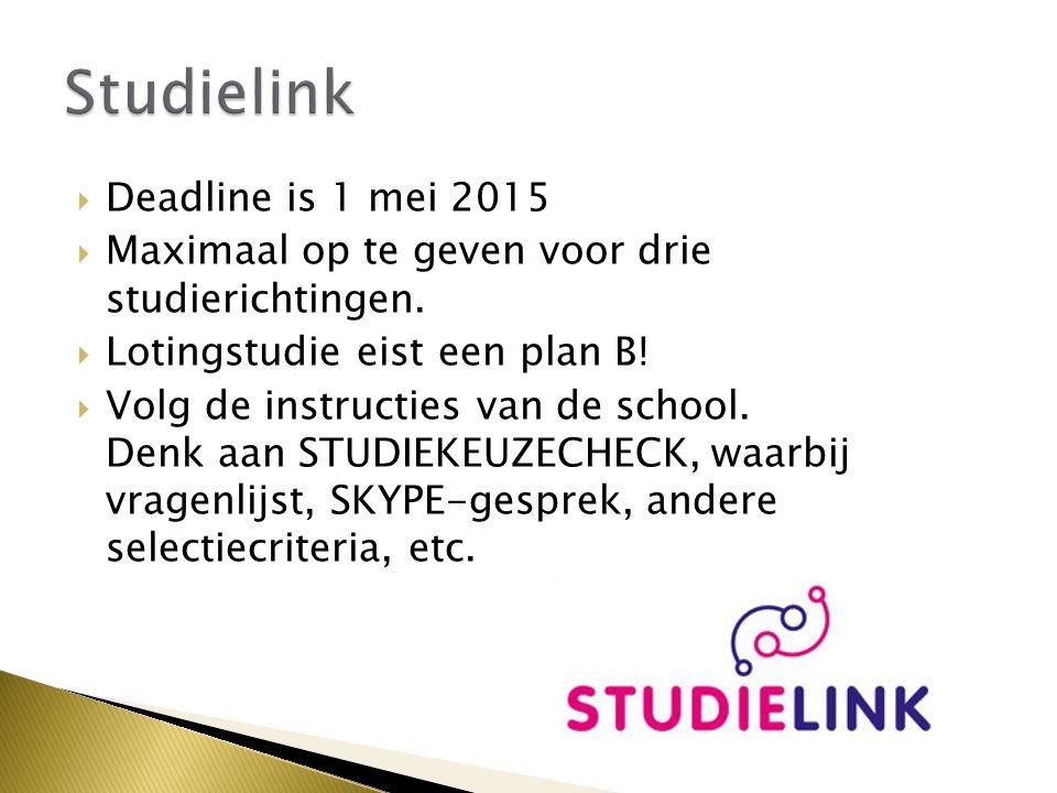  Deadline is 1 mei 2015  Maximaal op te geven voor drie studierichtingen.  Lotingstudie eist een plan B!  Volg de instructies van de school. Denk