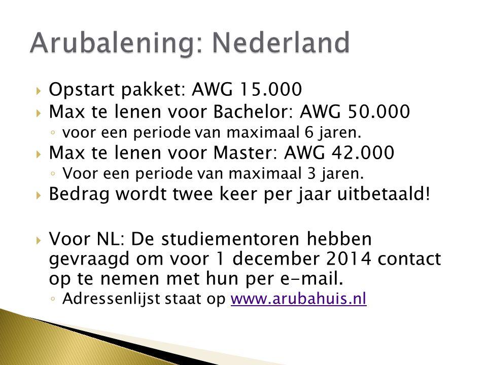  Opstart pakket: AWG 15.000  Max te lenen voor Bachelor: AWG 50.000 ◦ voor een periode van maximaal 6 jaren.  Max te lenen voor Master: AWG 42.000
