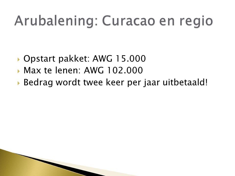  Opstart pakket: AWG 15.000  Max te lenen: AWG 102.000  Bedrag wordt twee keer per jaar uitbetaald!