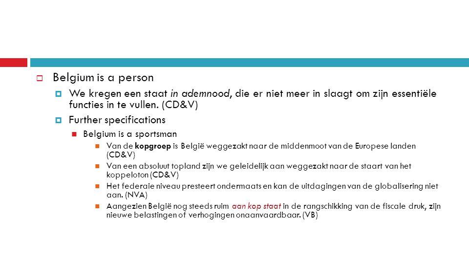  Belgium is a person  We kregen een staat in ademnood, die er niet meer in slaagt om zijn essentiële functies in te vullen.