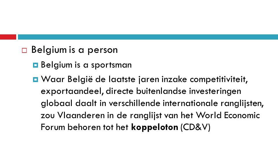  Belgium is a person  Belgium is a sportsman  Waar België de laatste jaren inzake competitiviteit, exportaandeel, directe buitenlandse investeringen globaal daalt in verschillende internationale ranglijsten, zou Vlaanderen in de ranglijst van het World Economic Forum behoren tot het koppeloton (CD&V)