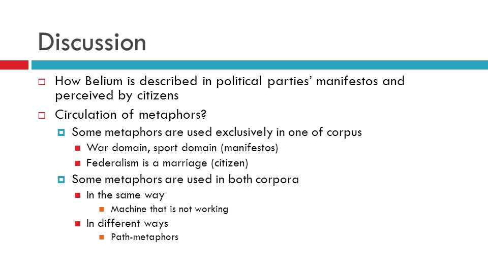 Discussion  How Belium is described in political parties' manifestos and perceived by citizens  Circulation of metaphors.