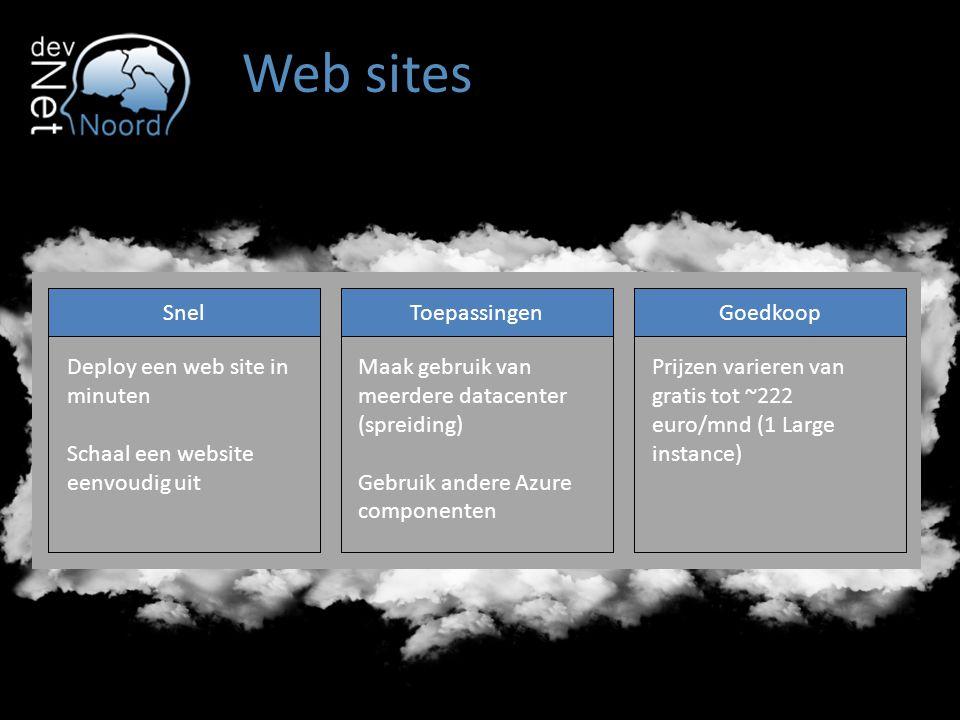SnelToepassingenGoedkoop Deploy een web site in minuten Schaal een website eenvoudig uit Maak gebruik van meerdere datacenter (spreiding) Gebruik andere Azure componenten Prijzen varieren van gratis tot ~222 euro/mnd (1 Large instance)