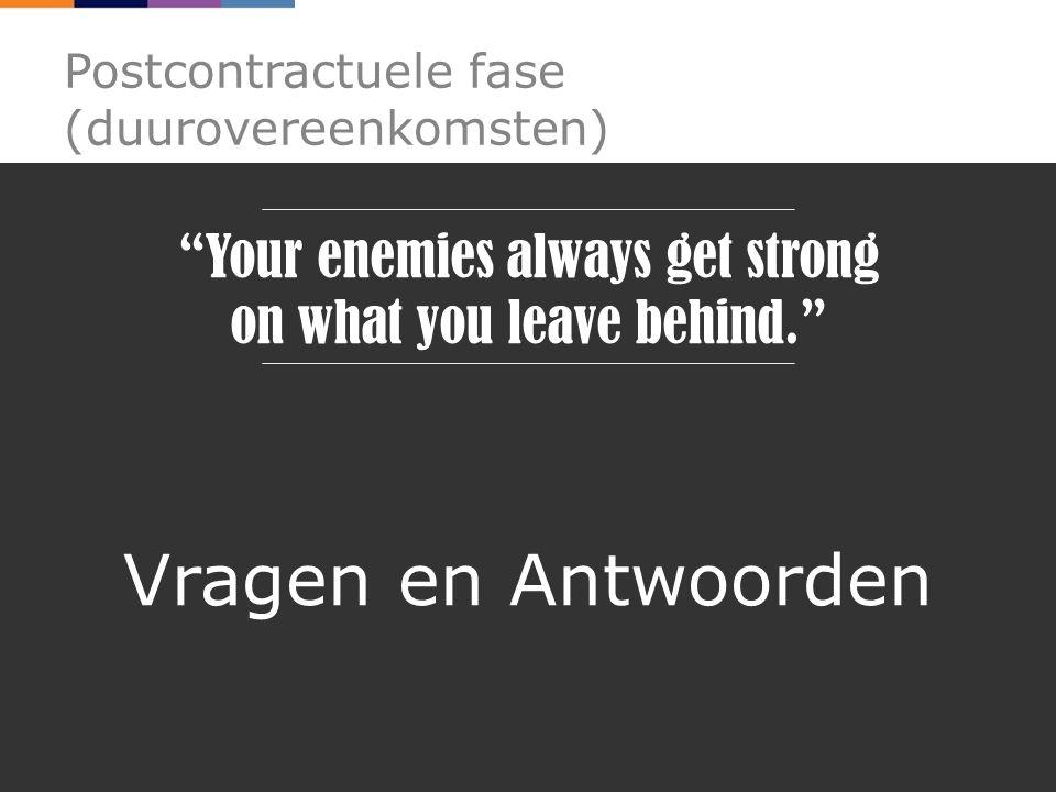 Postcontractuele fase (duurovereenkomsten) Vragen en Antwoorden Your enemies always get strong on what you leave behind.