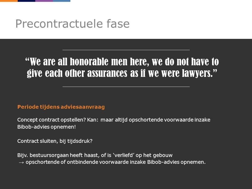 Precontractuele fase Periode tijdens adviesaanvraag Concept contract opstellen.