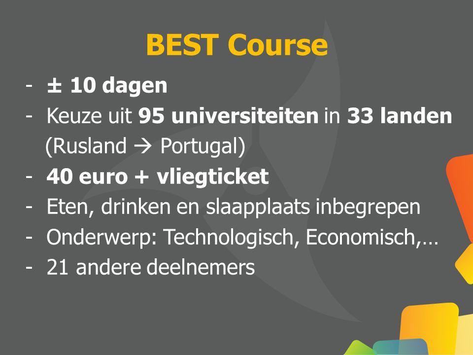 BEST Course - ± 10 dagen - Keuze uit 95 universiteiten in 33 landen (Rusland  Portugal) - 40 euro + vliegticket - Eten, drinken en slaapplaats inbegrepen - Onderwerp: Technologisch, Economisch,… - 21 andere deelnemers