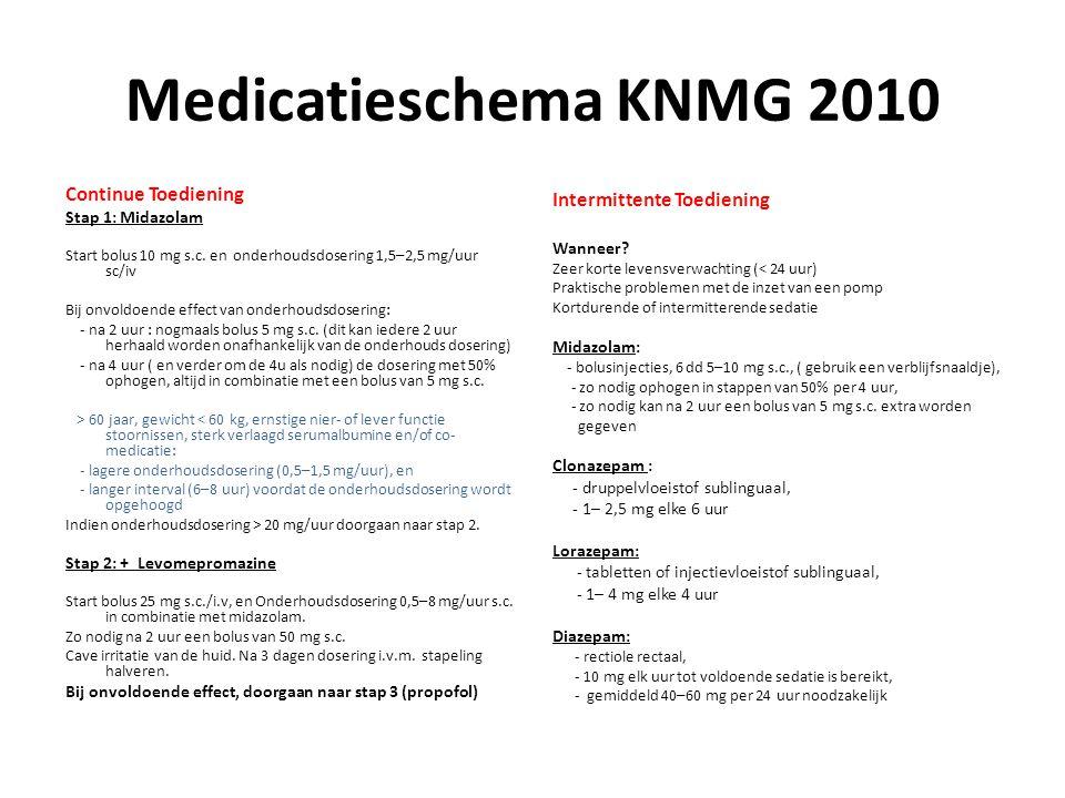 Medicatieschema KNMG 2010 Continue Toediening Stap 1: Midazolam Start bolus 10 mg s.c. en onderhoudsdosering 1,5–2,5 mg/uur sc/iv Bij onvoldoende effe