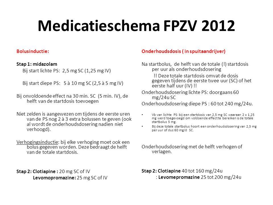 Medicatieschema FPZV 2012 Bolusinductie: Stap 1: midazolam Bij start lichte PS: 2,5 mg SC (1,25 mg IV) Bij start diepe PS: 5 à 10 mg SC (2,5 à 5 mg IV