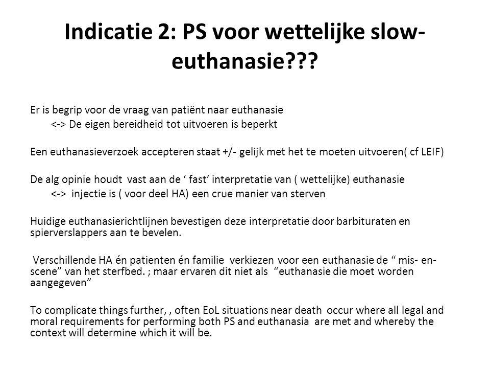 Indicatie 2: PS voor wettelijke slow- euthanasie??? Er is begrip voor de vraag van patiënt naar euthanasie De eigen bereidheid tot uitvoeren is beperk