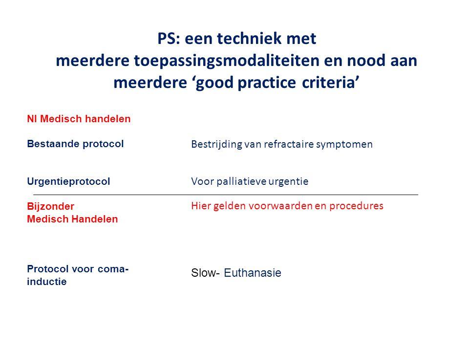 PS: een techniek met meerdere toepassingsmodaliteiten en nood aan meerdere 'good practice criteria' Nl Medisch handelen Bestaande protocol Urgentiepro