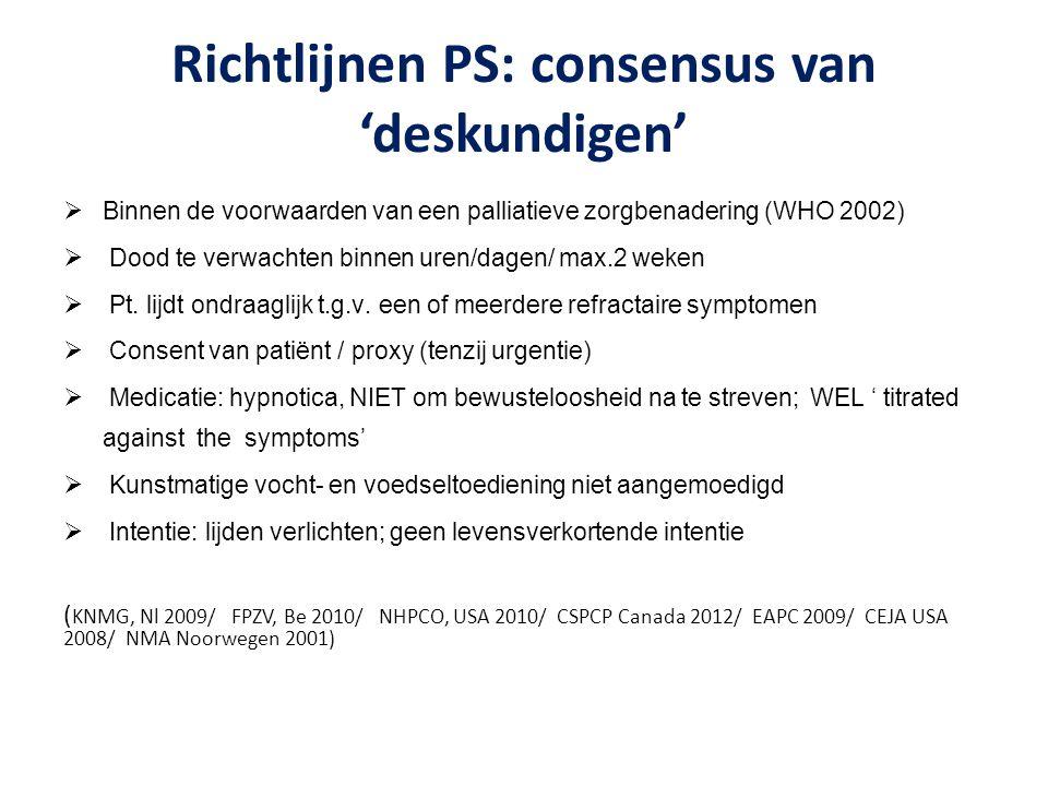 Richtlijnen PS: consensus van 'deskundigen'  Binnen de voorwaarden van een palliatieve zorgbenadering (WHO 2002)  Dood te verwachten binnen uren/dag