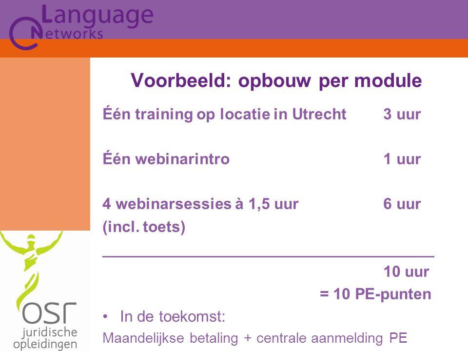 Één training op locatie in Utrecht3 uur Één webinarintro 1 uur 4 webinarsessies à 1,5 uur6 uur (incl.