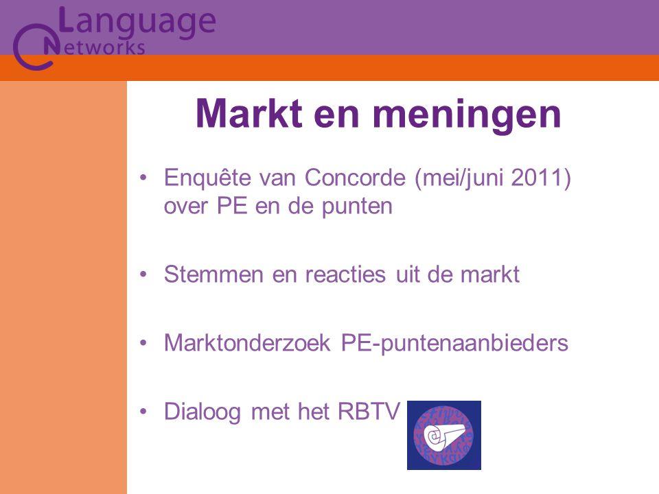 Markt en meningen Enquête van Concorde (mei/juni 2011) over PE en de punten Stemmen en reacties uit de markt Marktonderzoek PE-puntenaanbieders Dialoog met het RBTV