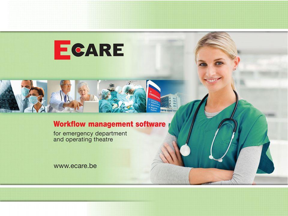 Naast de checklists beschikt E.care ook over alle gegevens die, op maat van de belanghebbenden, kan worden aangeboden in lijsten, berichten en rapporten Een paar voorbeelden: –Lijst van klaar te zetten materialen/medicatie/toestellen/....