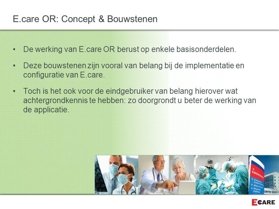 Eén van de twee belangrijke bouwstenen is de Werkhypothese E.care OR: Concept & Bouwstenen