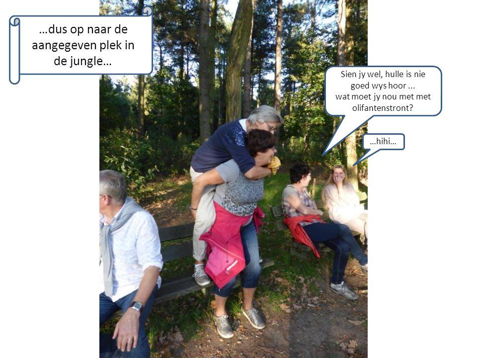 …dus op naar de aangegeven plek in de jungle… Sien jy wel, hulle is nie goed wys hoor... wat moet jy nou met met olifantenstront? …hihi…