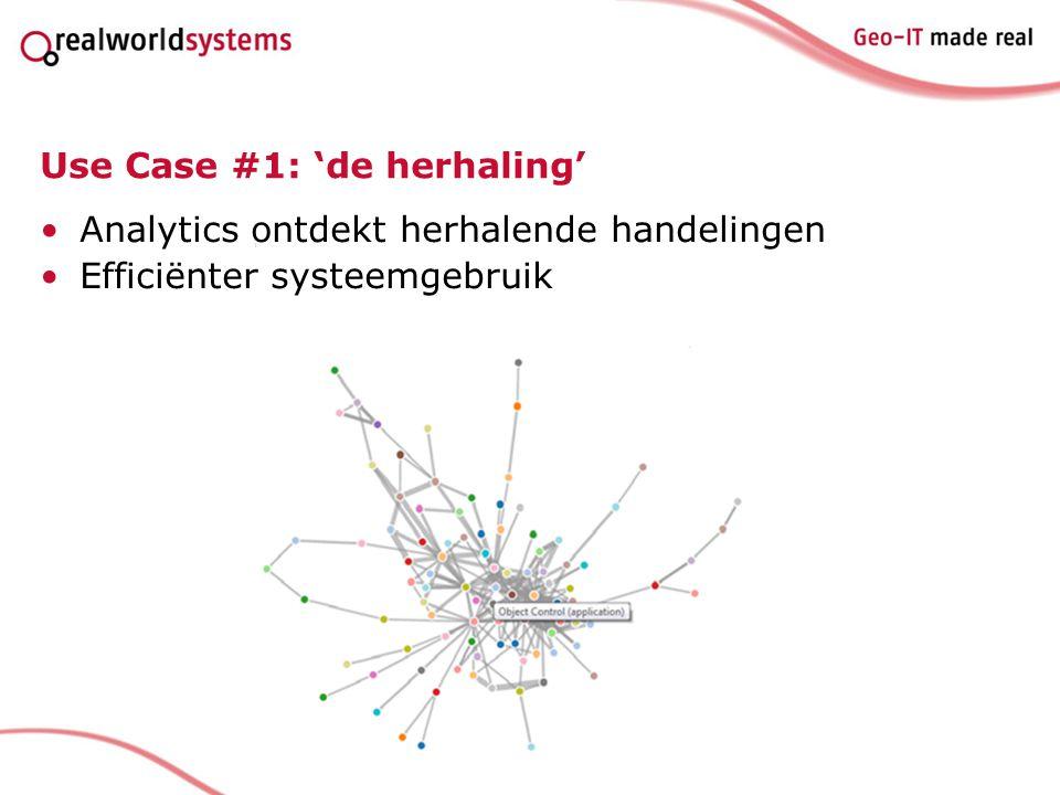 Use Case #1: 'de herhaling' Analytics ontdekt herhalende handelingen Efficiënter systeemgebruik