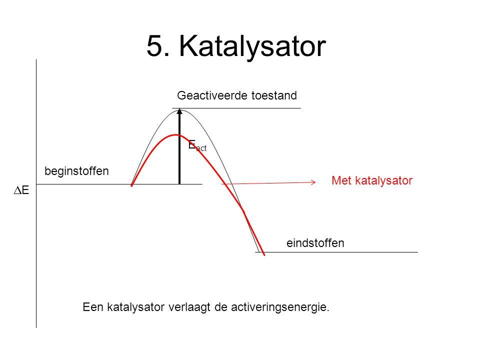 E act 5. Katalysator EE beginstoffen Geactiveerde toestand eindstoffen Een katalysator verlaagt de activeringsenergie. Met katalysator