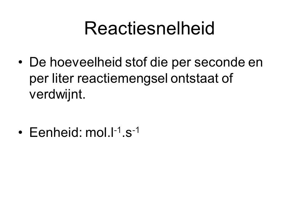 Reactiesnelheid De hoeveelheid stof die per seconde en per liter reactiemengsel ontstaat of verdwijnt. Eenheid: mol.l -1.s -1