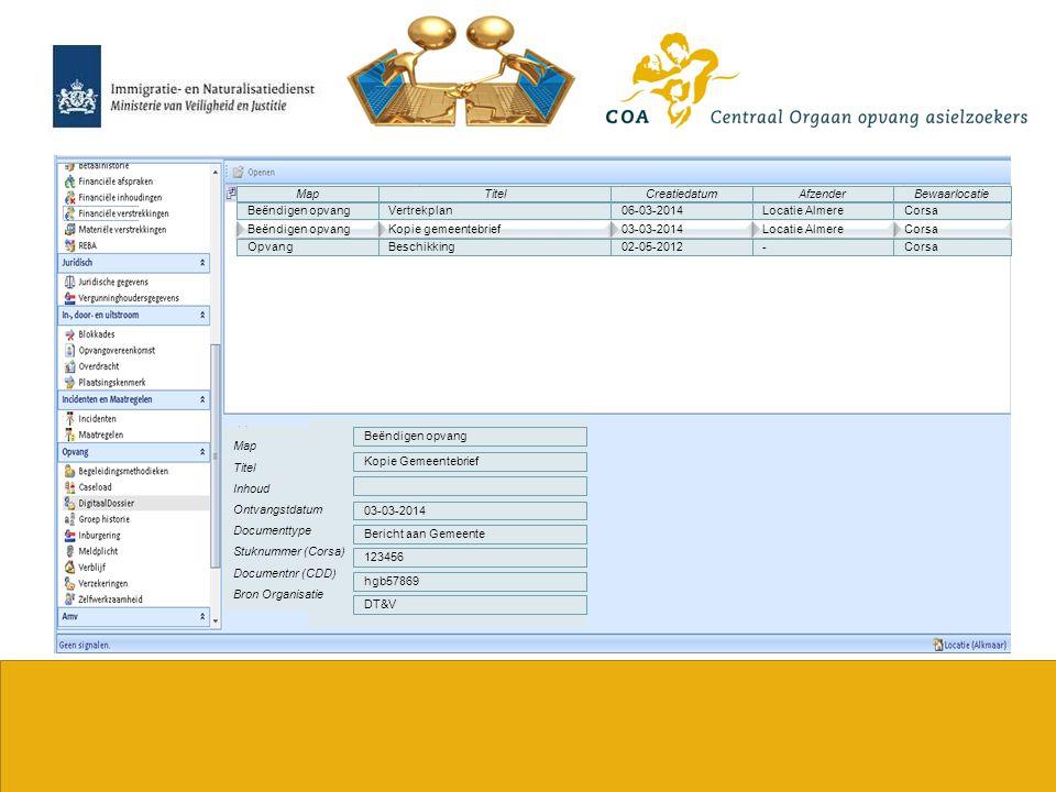 16 VertrekplanCorsaBeëndigen opvang06-03-2014Locatie Almere Map Titel Inhoud Ontvangstdatum Documenttype Stuknummer (Corsa) Documentnr (CDD) Bron Orga