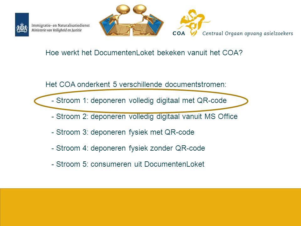 17 Hoe werkt het DocumentenLoket bekeken vanuit het COA? Het COA onderkent 5 verschillende documentstromen: - Stroom 1: deponeren volledig digitaal me