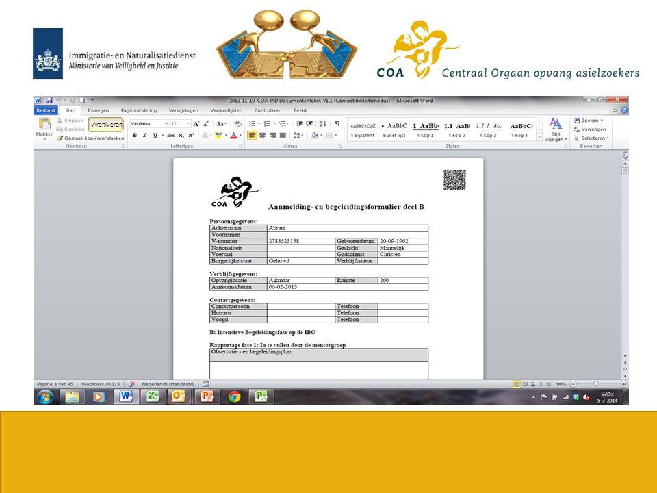 Archiveren Aanmelding- en begeleidings- formulier IBO deel B