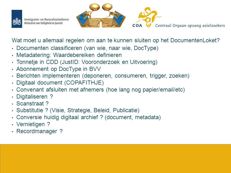 25 Wat moet u allemaal regelen om aan te kunnen sluiten op het DocumentenLoket? Documenten classificeren (van wie, naar wie, DocType) Metadatering: Wa