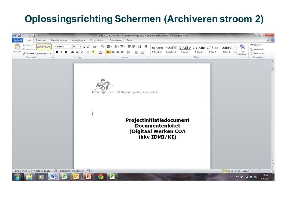 Oplossingsrichting Schermen (Archiveren stroom 2) Archiveren