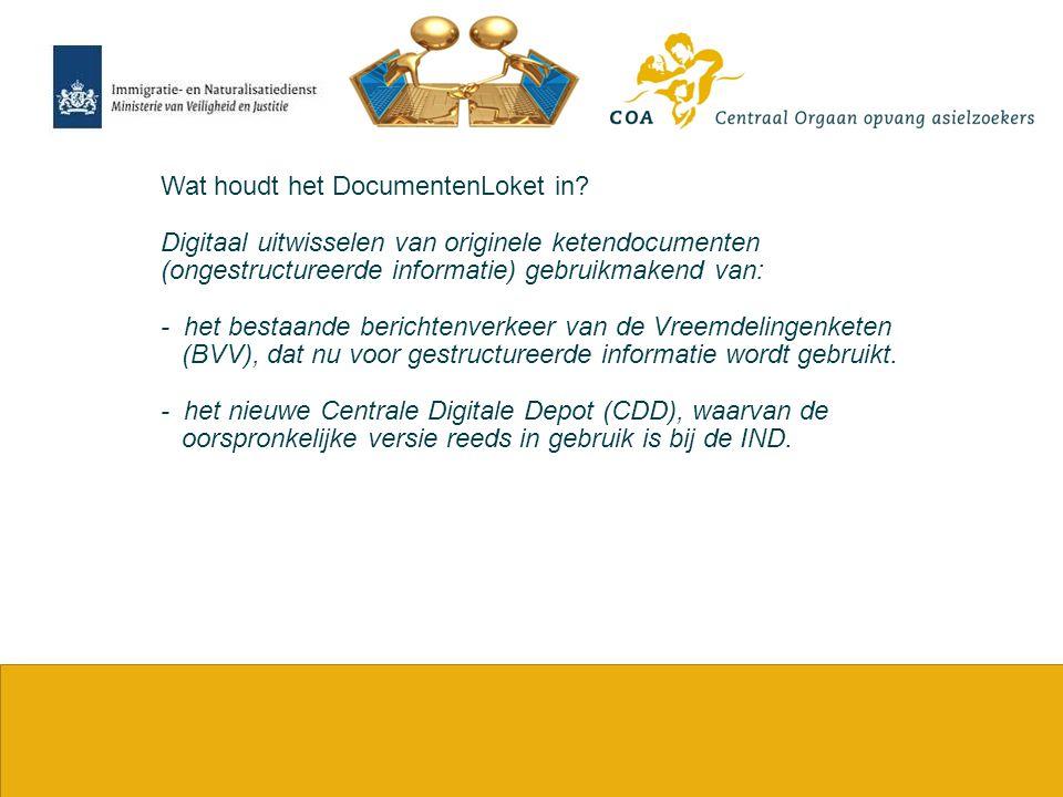 4 Wat houdt het DocumentenLoket in? Digitaal uitwisselen van originele ketendocumenten (ongestructureerde informatie) gebruikmakend van: - het bestaan
