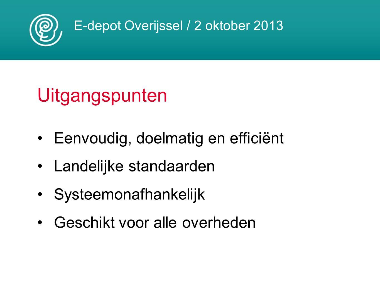 E-depot Overijssel / 2 oktober 2013 Uitgangspunten Eenvoudig, doelmatig en efficiënt Landelijke standaarden Systeemonafhankelijk Geschikt voor alle ov