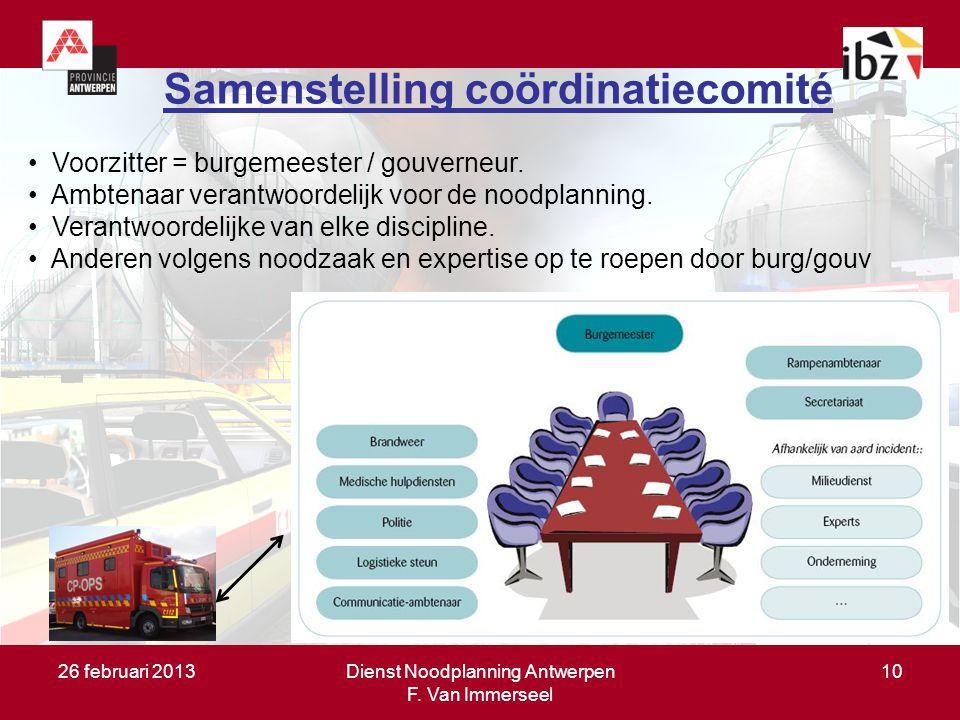 26 februari 2013Dienst Noodplanning Antwerpen F. Van Immerseel 10 Samenstelling coördinatiecomité Voorzitter = burgemeester / gouverneur. Ambtenaar ve