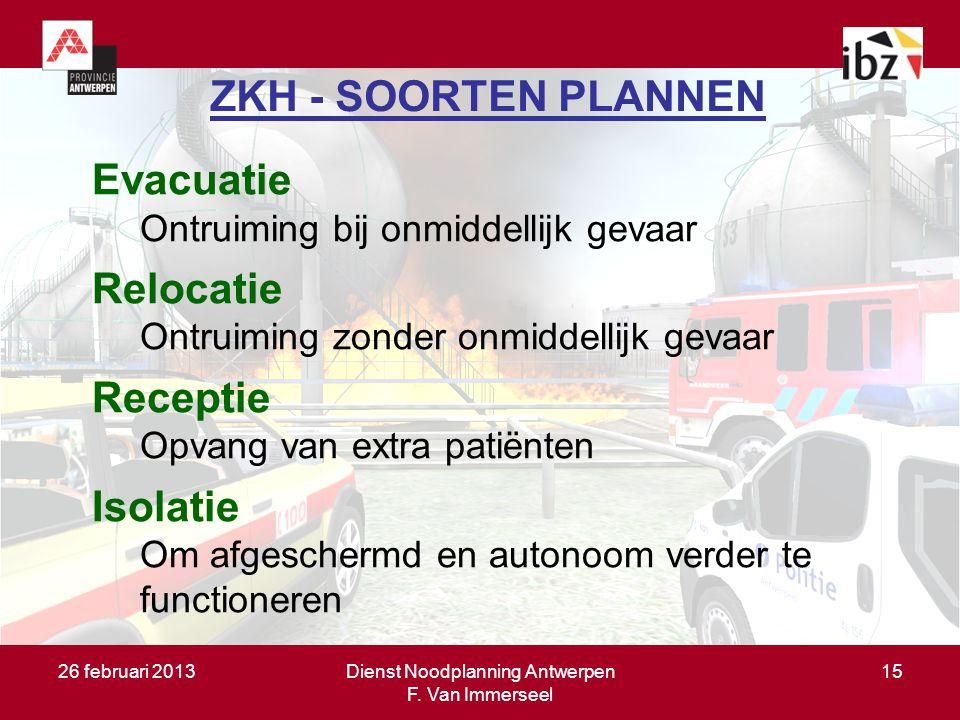 26 februari 2013Dienst Noodplanning Antwerpen F. Van Immerseel 15 ZKH - SOORTEN PLANNEN Evacuatie Ontruiming bij onmiddellijk gevaar Relocatie Ontruim