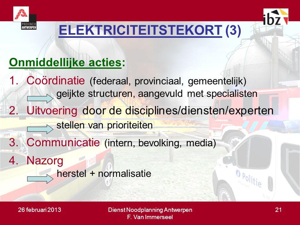 26 februari 2013Dienst Noodplanning Antwerpen F. Van Immerseel 21 ELEKTRICITEITSTEKORT (3) Onmiddellijke acties: 1.Coördinatie (federaal, provinciaal,