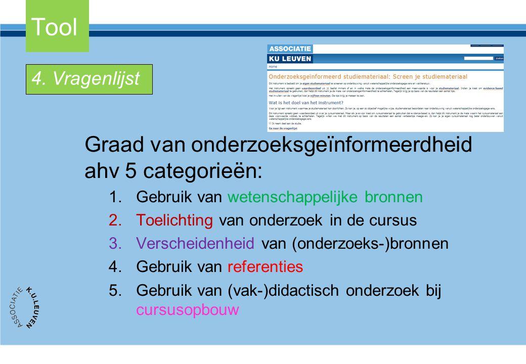 Tool Graad van onderzoeksgeïnformeerdheid ahv 5 categorieën: 1.Gebruik van wetenschappelijke bronnen 2.Toelichting van onderzoek in de cursus 3.Versch