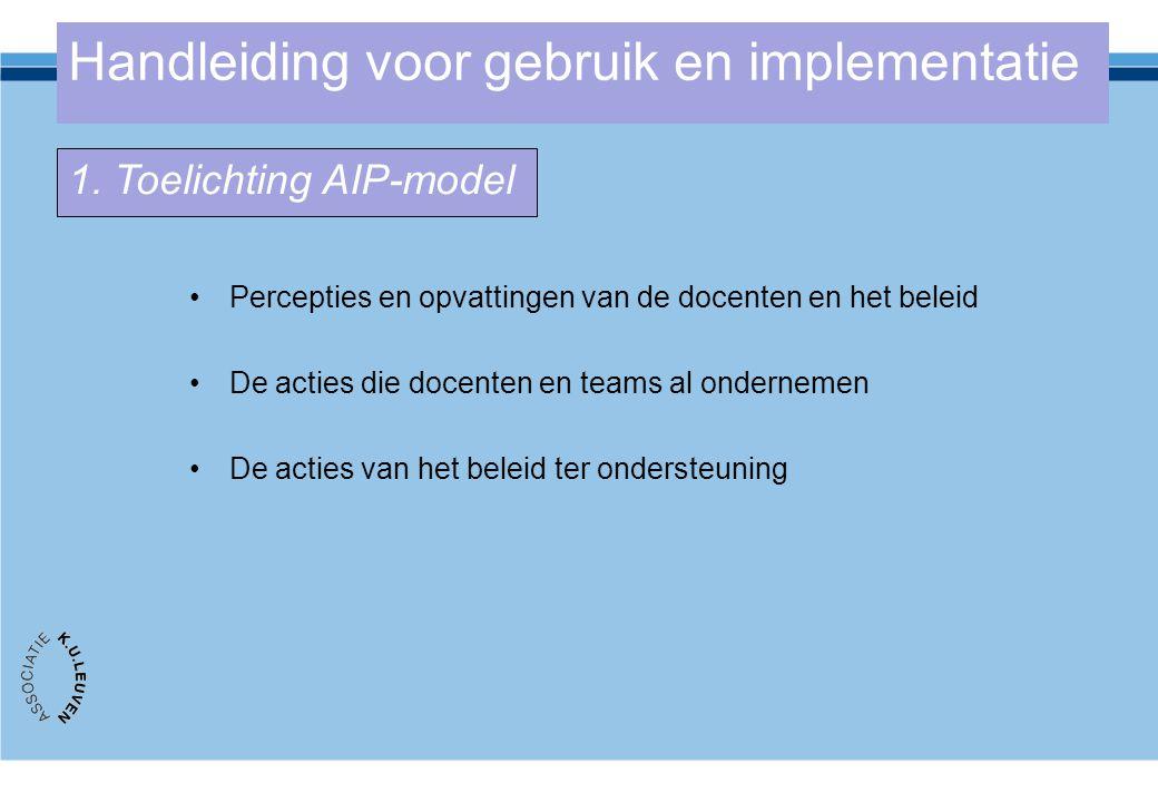 Handleiding voor gebruik en implementatie Percepties en opvattingen van de docenten en het beleid De acties die docenten en teams al ondernemen De act