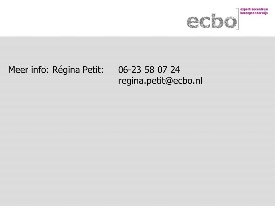 Meer info: Régina Petit: 06-23 58 07 24 regina.petit@ecbo.nl