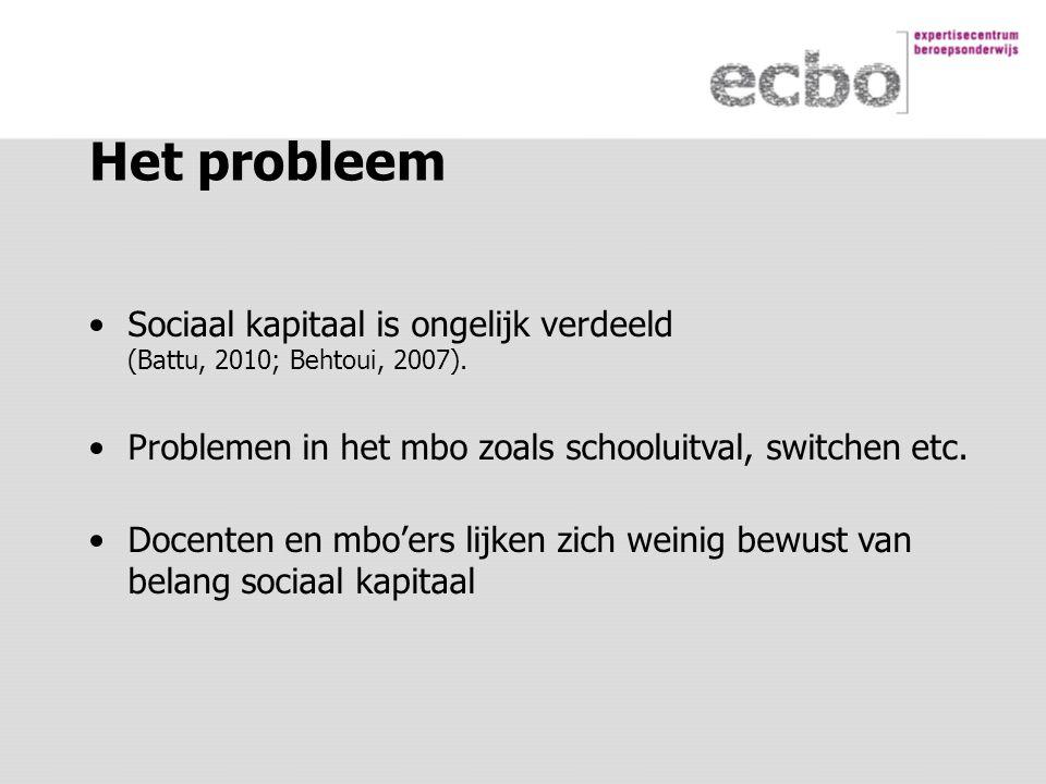 Het probleem Sociaal kapitaal is ongelijk verdeeld (Battu, 2010; Behtoui, 2007).