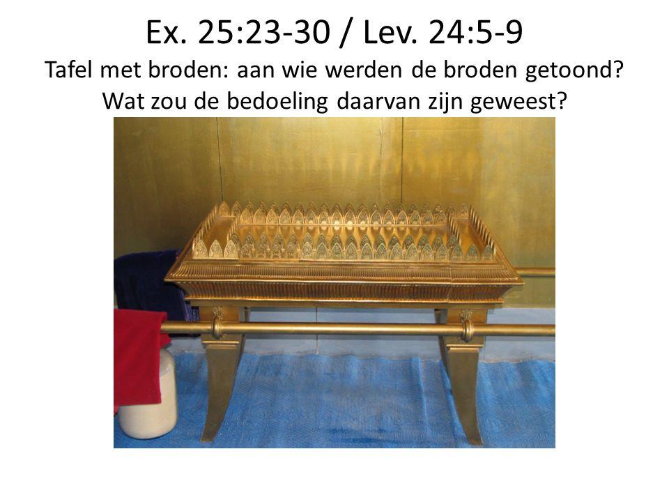 Ex. 25:23-30 / Lev. 24:5-9 Tafel met broden: aan wie werden de broden getoond? Wat zou de bedoeling daarvan zijn geweest?