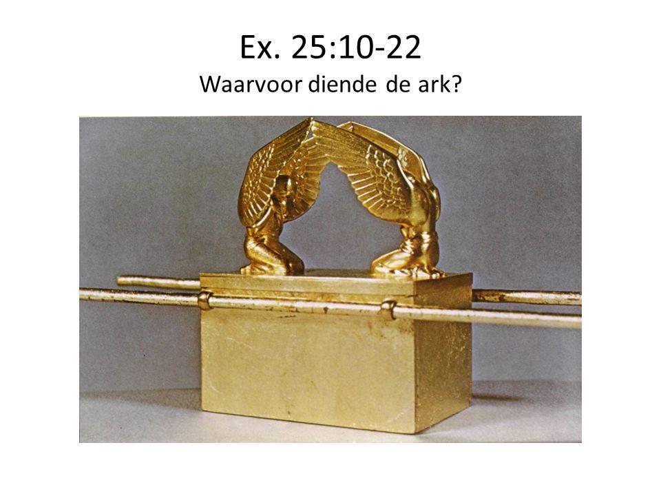 Ex. 25:10-22 Waarvoor diende de ark?