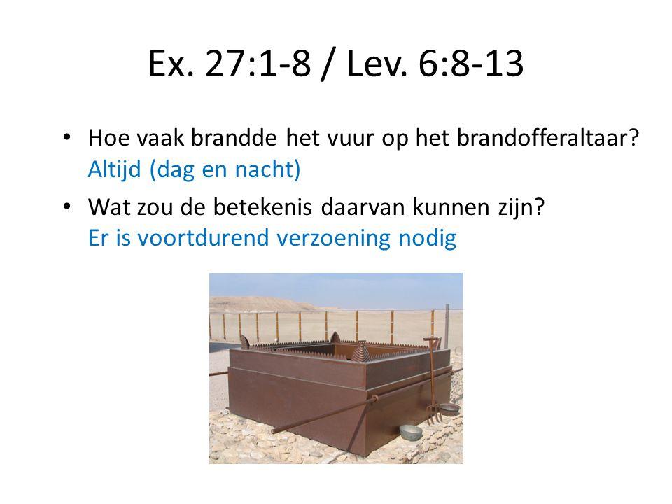 Ex. 27:1-8 / Lev. 6:8-13 Hoe vaak brandde het vuur op het brandofferaltaar? Altijd (dag en nacht) Wat zou de betekenis daarvan kunnen zijn? Er is voor